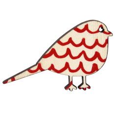 Bird brooch with red wave pattern