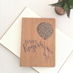Personalised baby shower journal - wood look notebook for pregnancies.