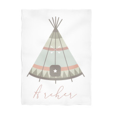 Teepee personalised fleece blanket