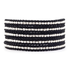 Chan Luu sterling silver nuggets and black leather five wrap bracelet