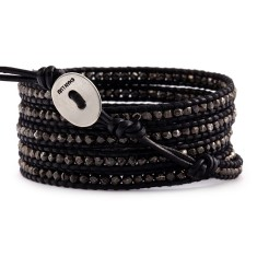Chan L gunmetal nuggets and leather five wrap bracelet
