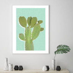 Retro cactus mint art print (various sizes)