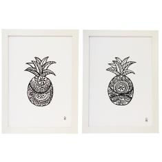 Black and white pineapple framed art print (various designs)