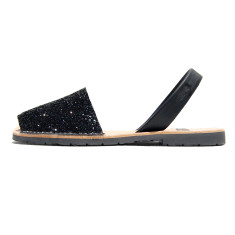 Joan leather glitter sandals in black