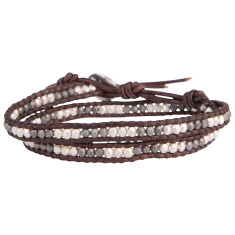 Chan Luu silver mix brown leather double wrap men's bracelet