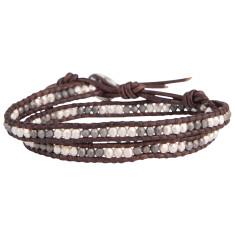 Chan Luu silver mix brown leather double wrap men's bracelet