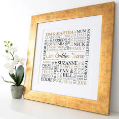Personalised Golden Anniversary Metallic Word Art