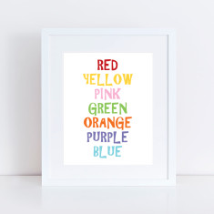 Rainbow words art print