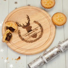 Personalised Winter Stag Round Chopping Board