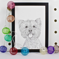 West Highland Terrier Dog Line Portrait Print