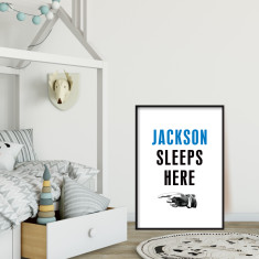 Custom boys bedside art print (more colours and directions)