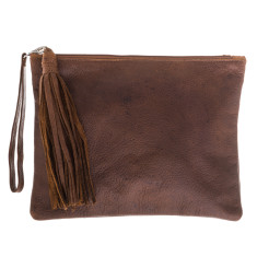 Mickey Rust Leather Clutch