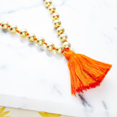 Orange Tassel Bead Necklace