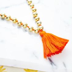 Orange Tassel Bead Necklace