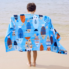 Fishy Fish Kids' Towel with hidden zip pocket