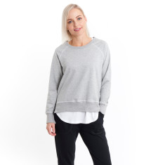 Side Zip Sweat in Grey Marle