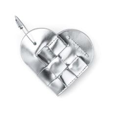 Elskling Key Pouch In Metallic Silver Leather
