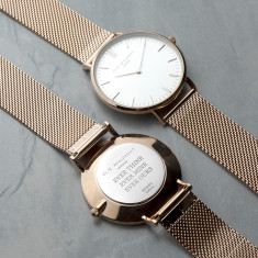 Personalised Rose Gold Elie Beaumont Watch With White Dial & Mesh Strap