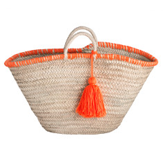 Medium tassel basket in orange