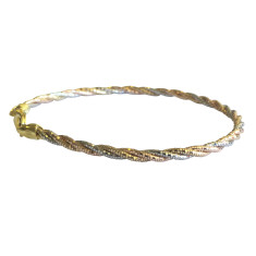 Multicolour three strand sterling silver omega bracelet