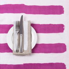 Pink & white stripe tablecloth