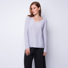 Rib knit graceful cashmere v neck
