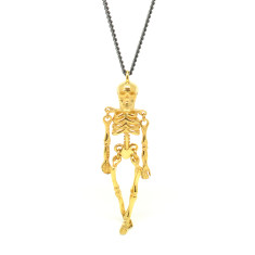 Gold and Black Ossibus Skeleton Pendant