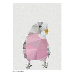 Geometric pink budgie art print