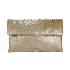 Pale gold python leather classic foldover clutch
