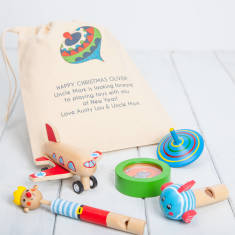 Five Traditional Boys Toys With Personalised Bag