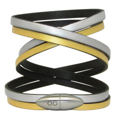 Silver and gold bullet bracelet