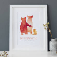 Personalised First Mother's Day Bear Family Print
