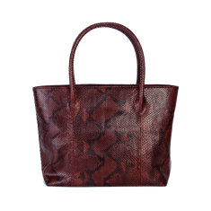 Wine motif python leather tote bag