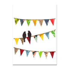 Birdy bunting blank greeting card