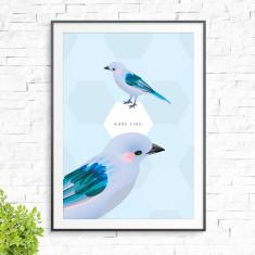 Blue birds print