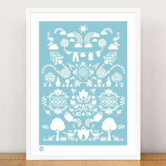 Garden print in blossom blue