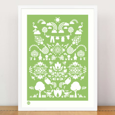 Garden print in grassy green