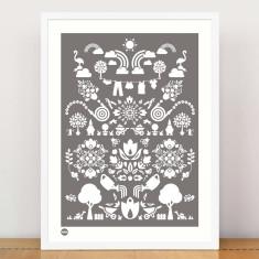 Garden print in garden grey