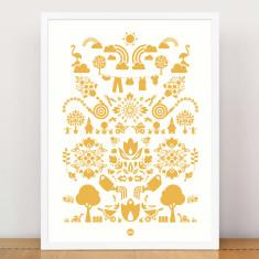 Bees knees garden print in yellow