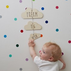 Personalised dream big wooden cloud mobile