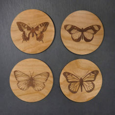 Wooden butterfly coasters (set of 4)