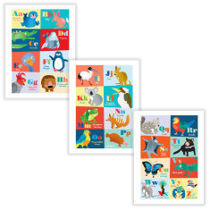 Oz animals A-Z wall art (set of 3)