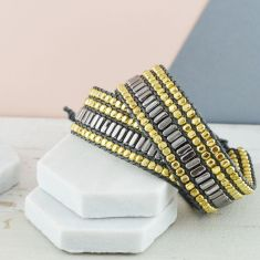 Metallic Wrap Around Beaded Cuff Bracelet