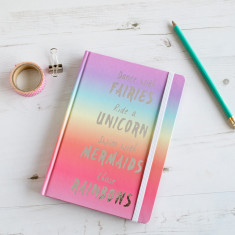 Personalised unicorns and rainbows notebook