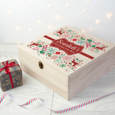 Personalised Traditional Christmas Eve Box - Large - Red & Green