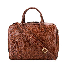 The Calvino Croco Luxury Italian Leather Soft Briefcase
