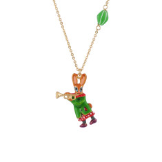 Trumpet player little rabbit necklace