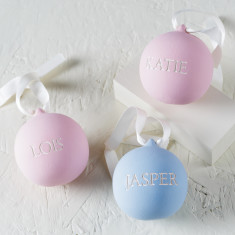 Personalised Engraved Ceramic Baby Bauble