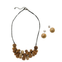 Atlantis pippy necklace + round studs set wood
