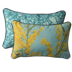Blue Wattle rectangle cushion cover